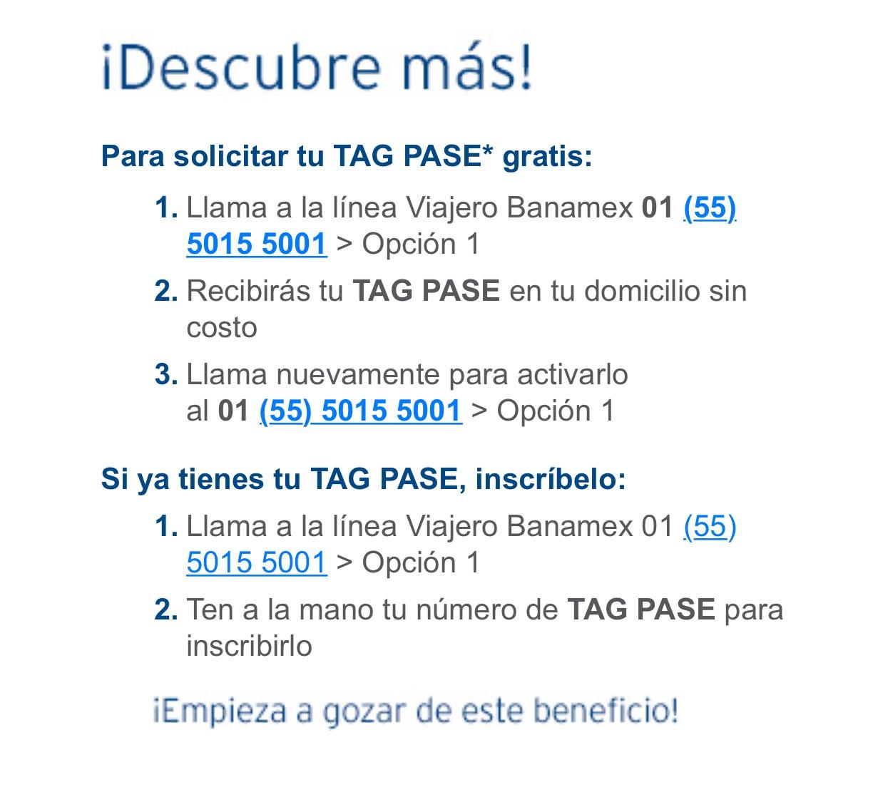 "Banamex: TAG PASE ""Gratis"" y 5% reembolso mensual"