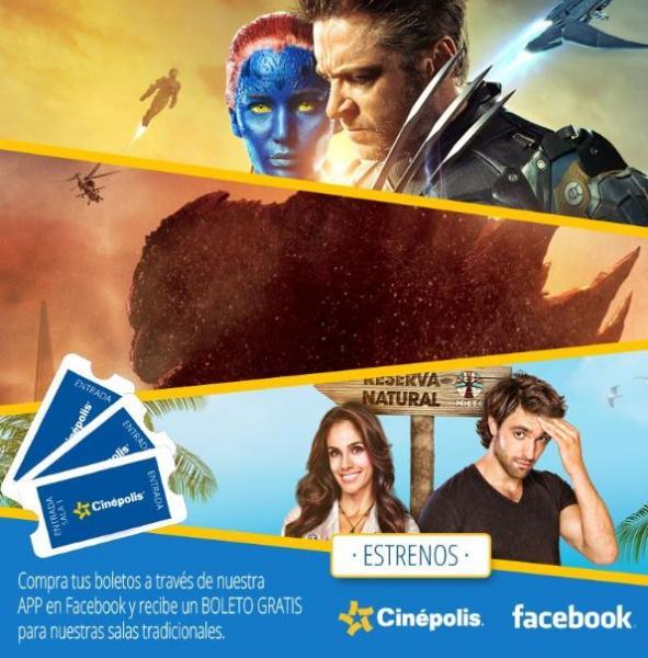 Cinépolis: entrada extra gratis comprando por Facebook