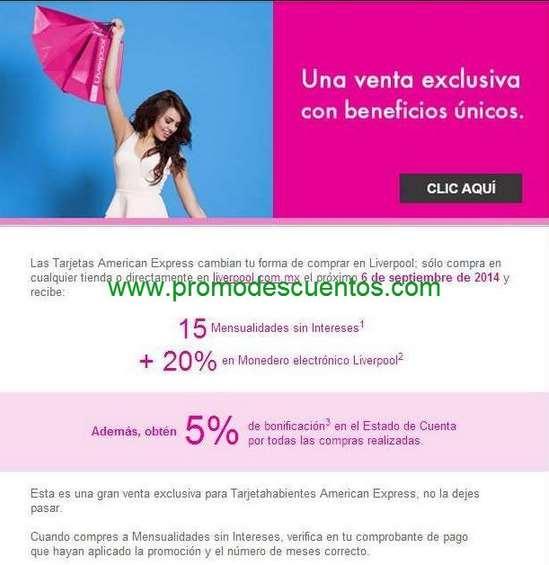 Venta especial Liverpool American Express: 20% en monedero, 15 MSI y 5% de bonificación