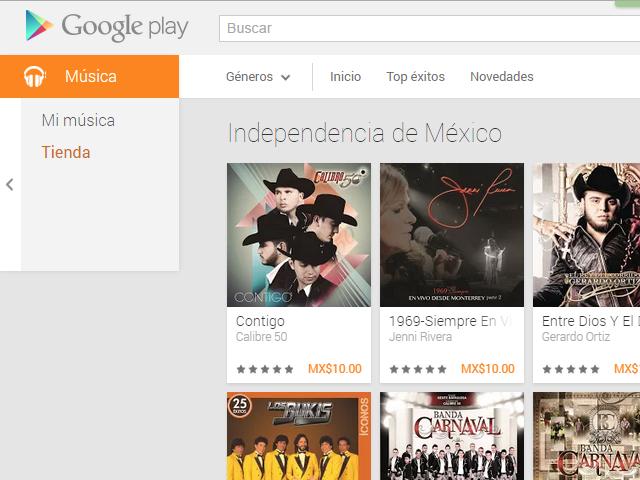 Google Play Store: Promoción Independencia de México discos a $10