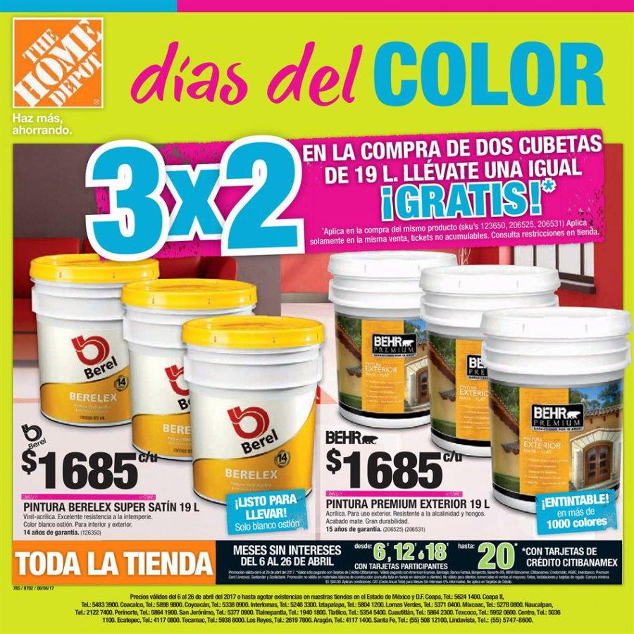 The Home Depot: 3x2 4x3 galones gratis y más folleto