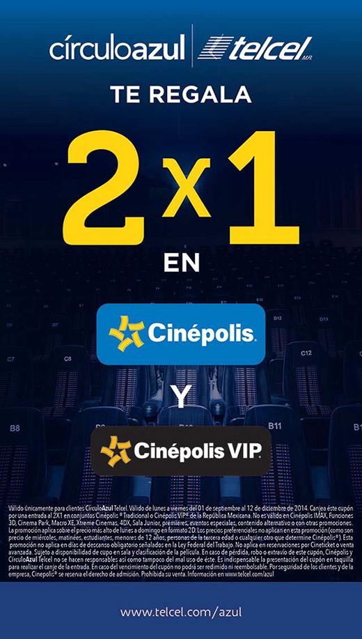 CUPON 2X1 CINEPOLIS TRADICIONAL Y VIP