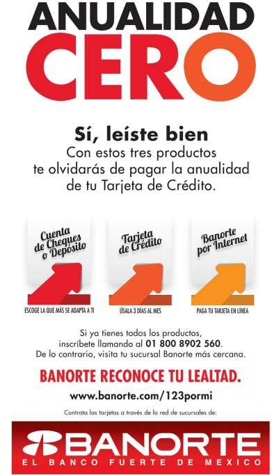 Banorte e IXE: anualidad de tarjetas de crédito gratis pagando por internet