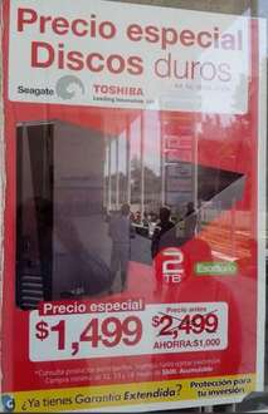 OfficeMax: discos duros de 2TB $1,499