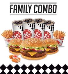 60's Burger: 3 hamburguesas, 2 papas, 4 refrescos y 2 Chicken Strips por $119