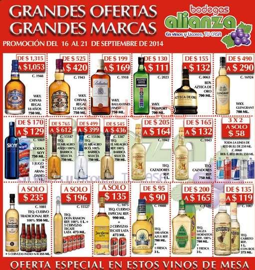 Bodegas Alianza: whisky Chivas Regal $420, tequila Cazadores $132, 3x2 en Red Bull y más