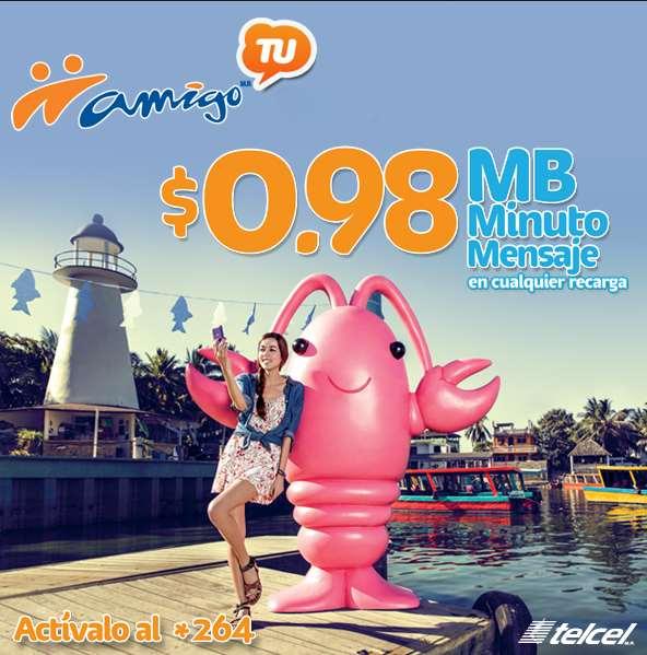 Telcel Amigo TU: 98 centavos el mega, el minuto y el mensaje