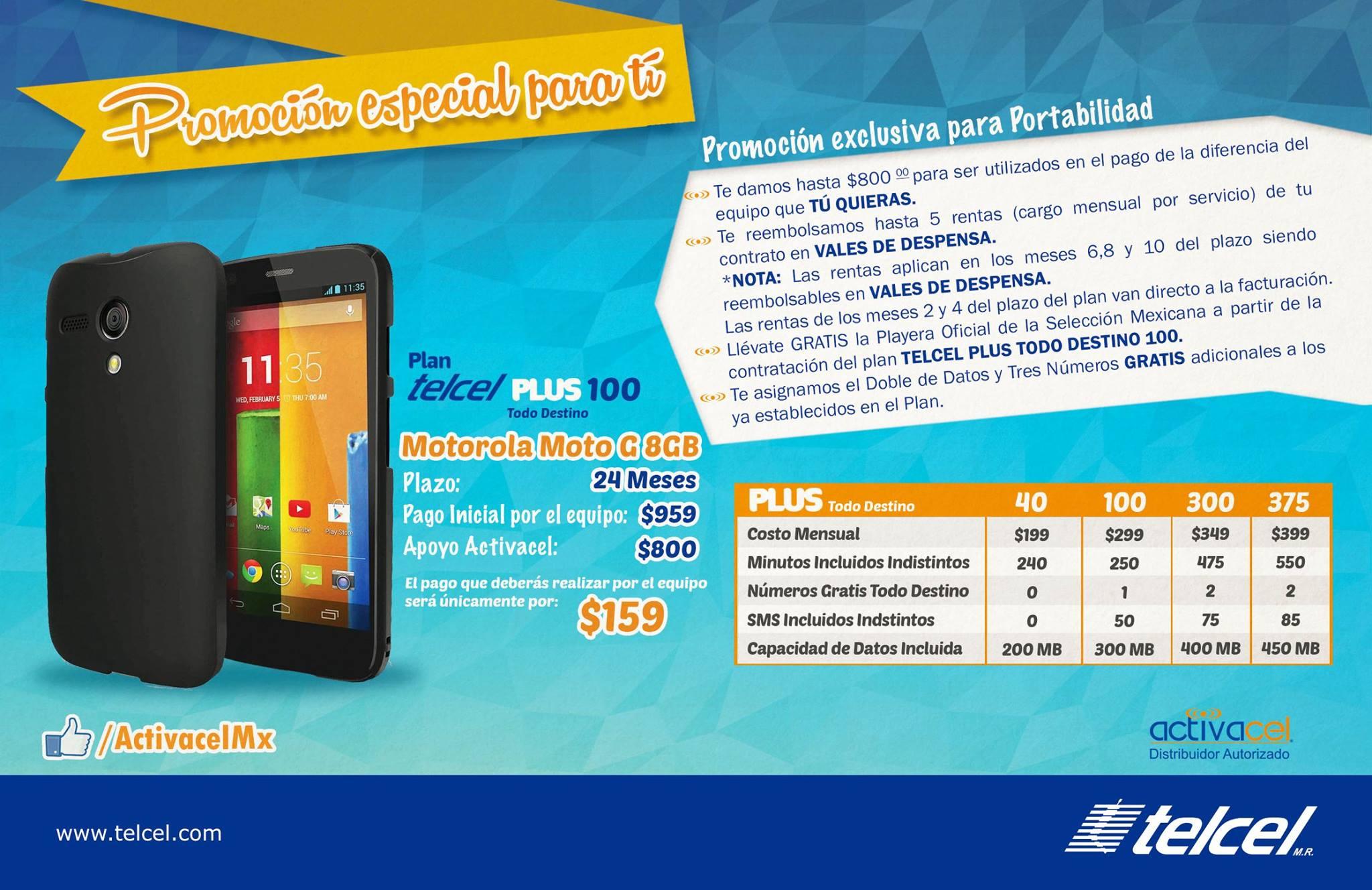 Telcel: $800 para un equipo  + 5 rentas + doble MB + 3 números gratis extras + 1,000 mensajes +  playera de la selección