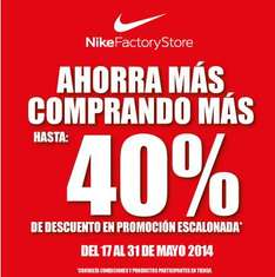 Nike Factory Store: descuento escalonado de hasta 40%