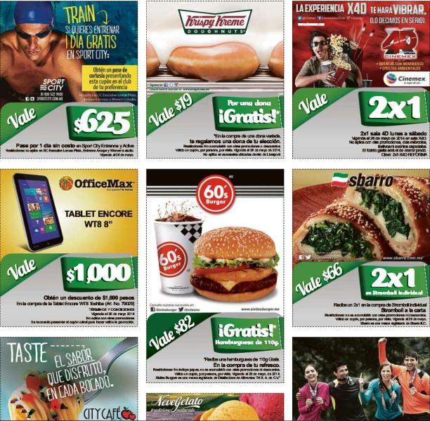 Cupones: 2x1 en Krispy Kreme, Cinemex 4D, Sbarro, Neve Gelato y más