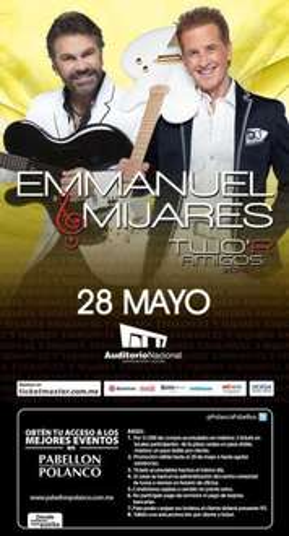 Pabellón Polanco: 2 boletos para Mijares & Emmanuel o tributo Queen y Beatles con compra mínima