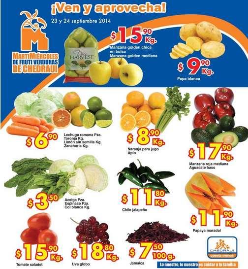 Ofertas de frutas y verduras en Chedraui 23 y 24 de septiembre