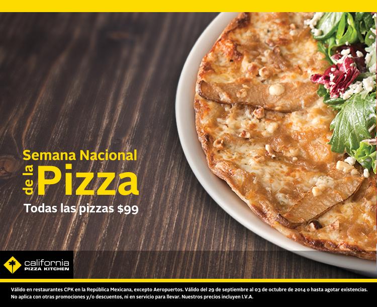 California Pizza Kitchen semana nacional de la pizza: todas a $99 (y pizza gratis en la siguiente visita)