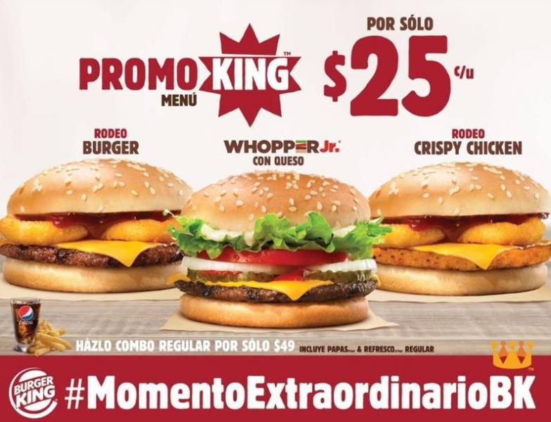 Promoking Burger King: hamburguesa Rodeo Burger y más a $25 c/u
