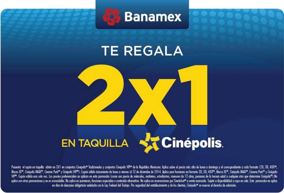 Cinépolis: 2x1 incluyendo 3D, 4DX, VIP y IMAX con Banamex
