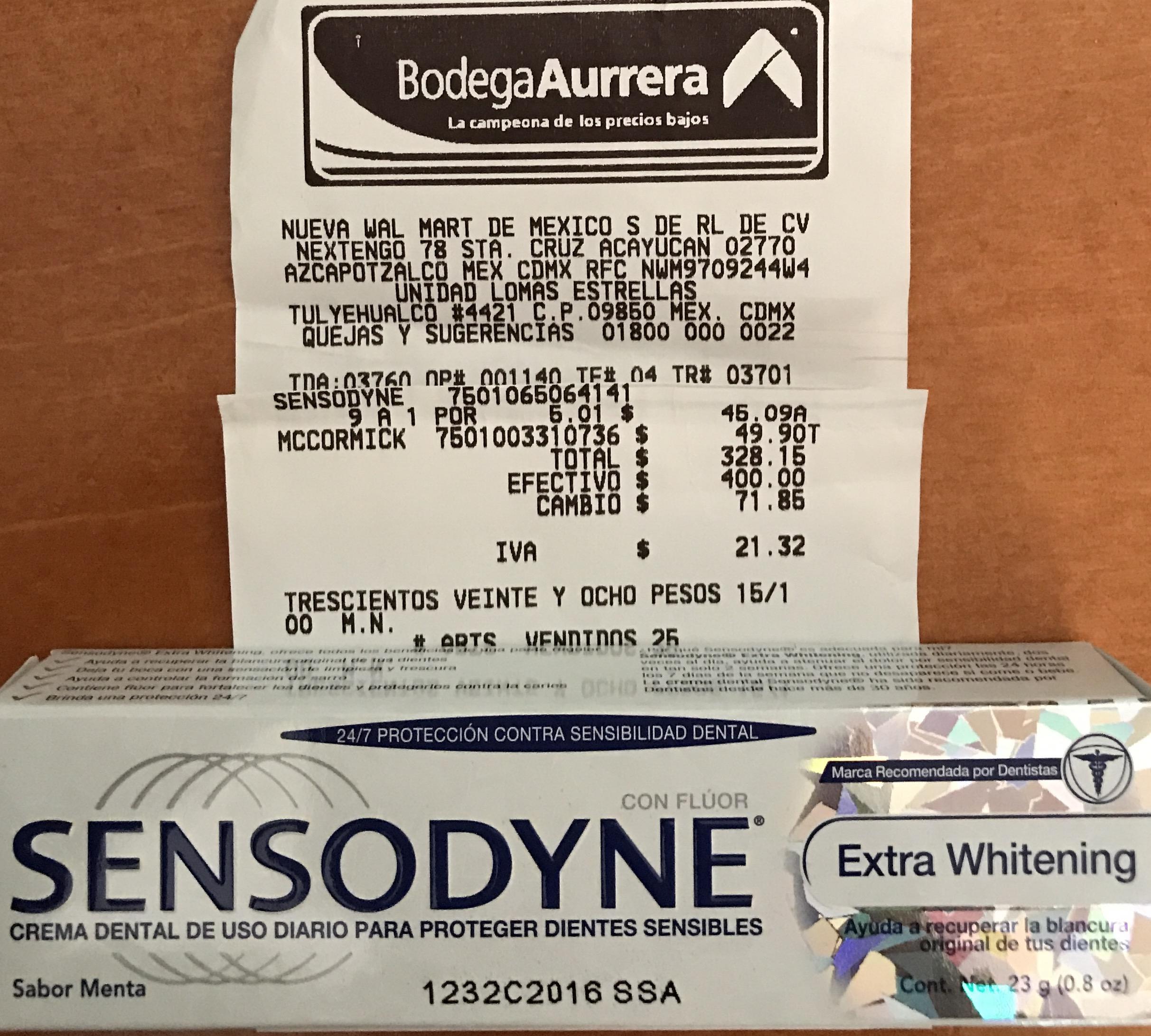 Bodega Aurrerá: crema dental sensodyne a $5.01