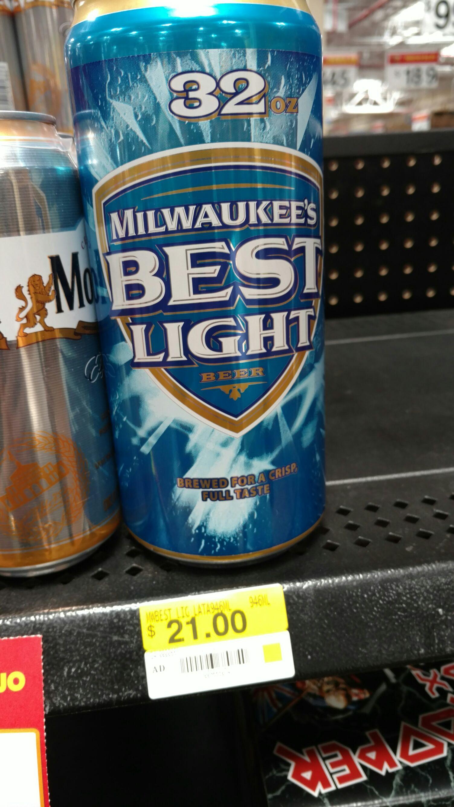 Walmart: Lata 946 ml Milwaukee's Best Light Beer