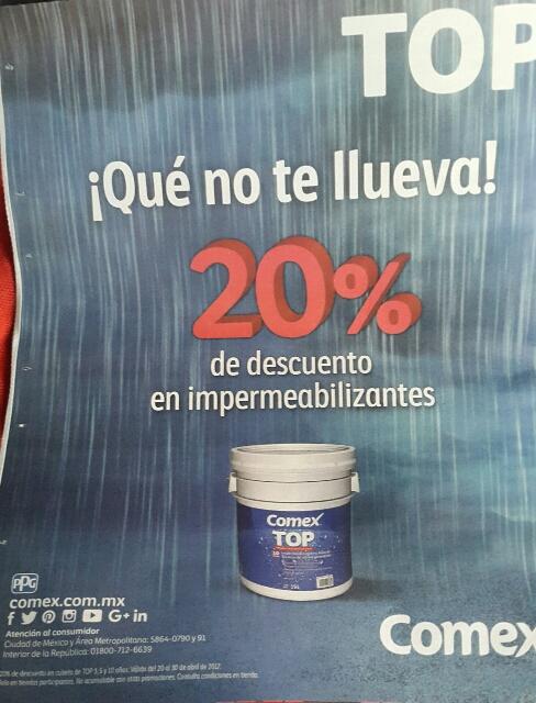 Comex: 20% de descuento en impermeabilizantes TOP