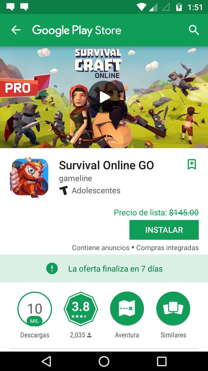 Google Play: Juego GRATIS SURVIVAL ONLINE