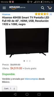 "Amazon: Hisense 40H5B Smart TV Pantalla LED Full HD de 40"" (Vendida por tercero)"