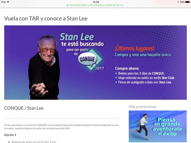 Tar México: Te invita a conocer a Stan Lee en el CONQUE, boleto de acceso al evento y/o como los boletos de avión con un descuento del 10%