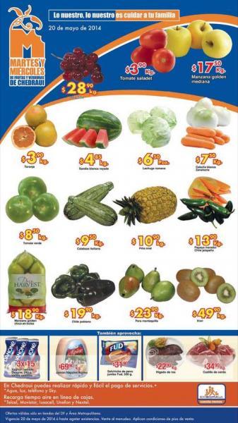 Ofertas de frutas y verduras en Chedraui mayo 20 y 21