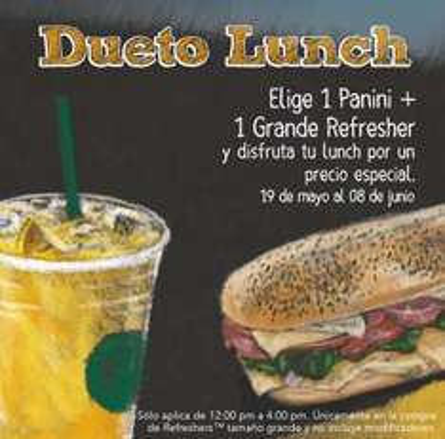 Starbucks: dueto lunch a precio especial