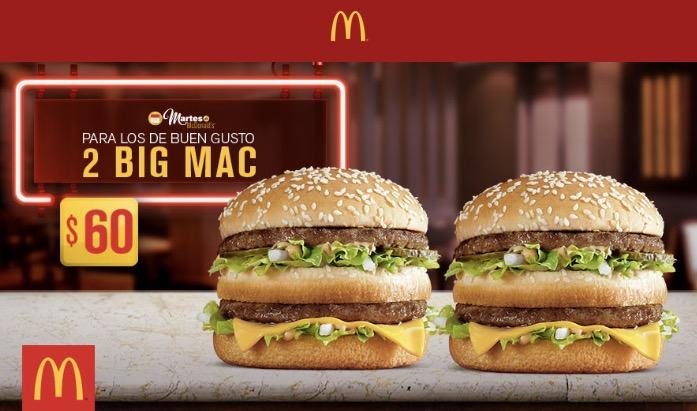 Martes de McDonald's: 2 hamburguesas Big Mac por $60