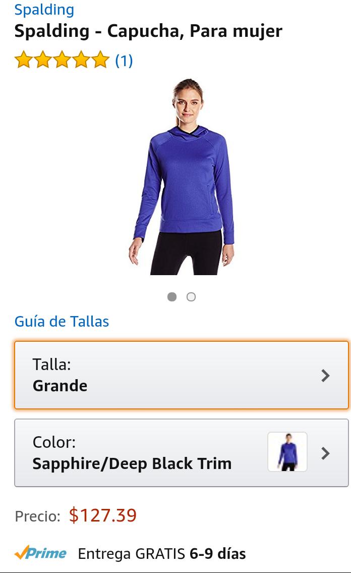 Amazon: Sudadera Spalding para mujer talla grande a $127 envío gratis con prime