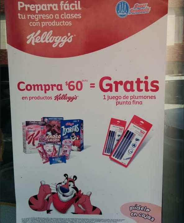 Farmacias Guadalajara: set de plumones gratis al comprar $60 de Kellogg's