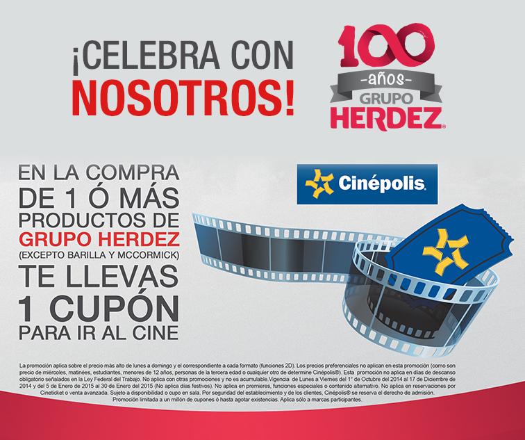 Cupones Cinépolis 2x1 comprando productos Herdez