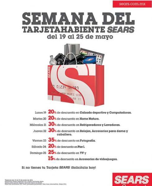 Semana del tarjetahabiente Sears del 19 al 25 de mayo: descuentos especiales