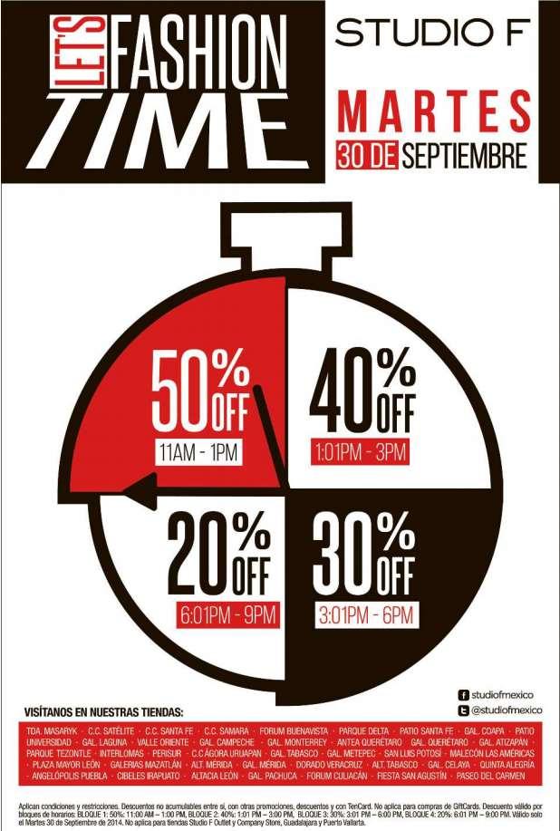 Studio F: 50% de descuento en toda la tienda mañana en la mañana, 30% en la tarde