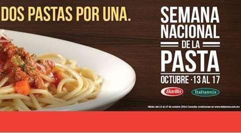 Italianni's: semana nacional de la pasta (oct 13-17) con 2x1 en pastas