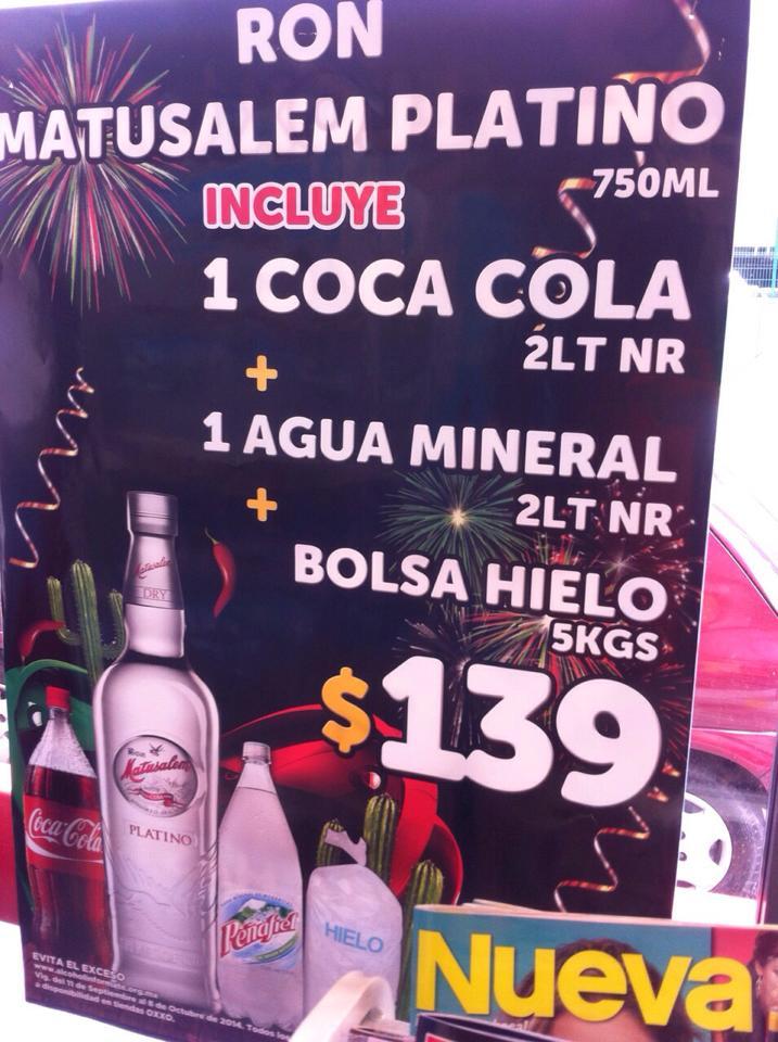 Oxxo: ron Matusalem Platino + Coca familiar + Peñafiel familiar + hielos $139