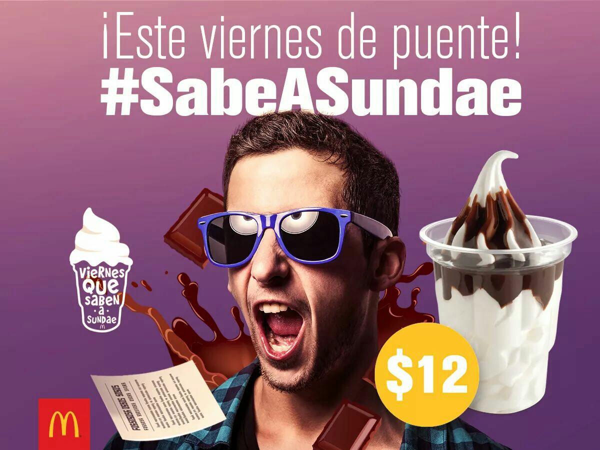 McDonald's: sundae de chocolate $12 pesos (solo hoy)
