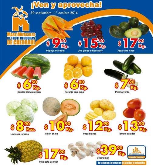 Ofertas de frutas y verduras en Chedraui septiembre 30 y octubre 1