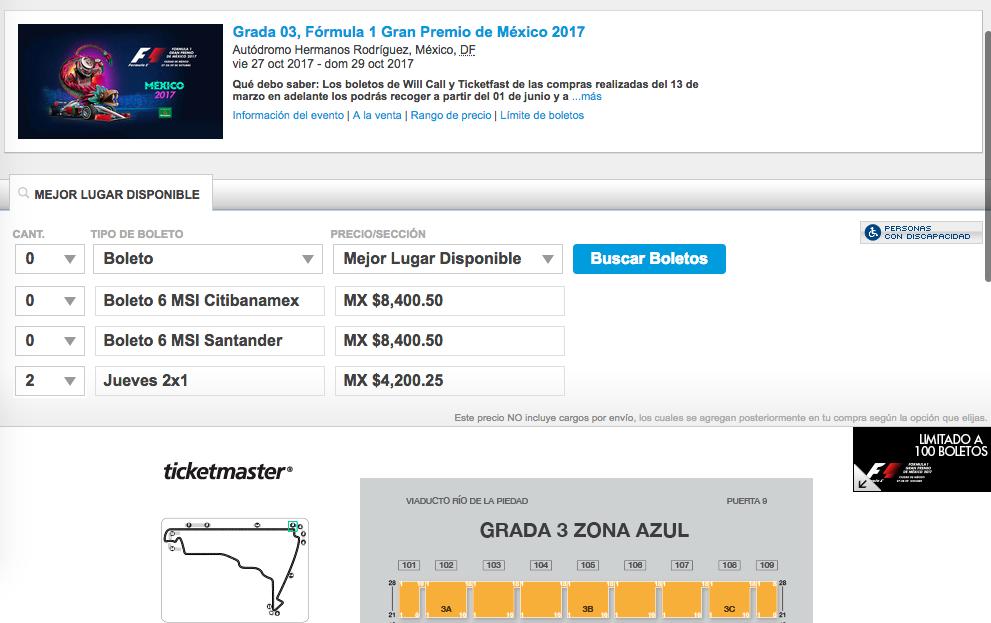 Ticketmaster: Boletos para la F1 al 2x1 (Grada 03)