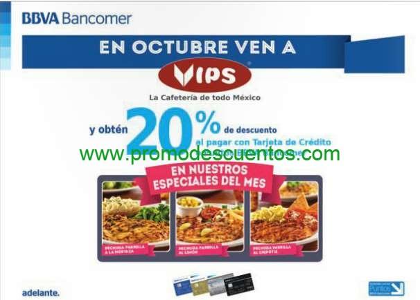 Vips: 20% de descuento en especiales del mes con Bancomer