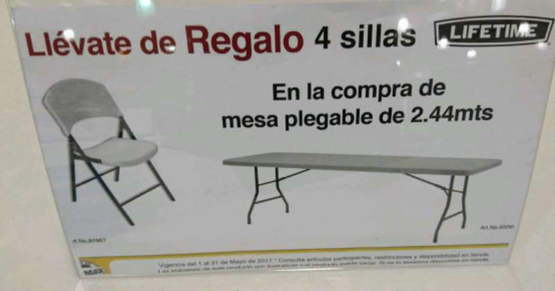 Office max m rida compra mesa plegable lifetime y for Precio de sillas plegables