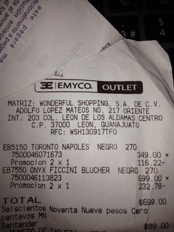 Emyco outlet 2x1 en zapatos caballero y dama desde 500 - Ahorro total outlet ...