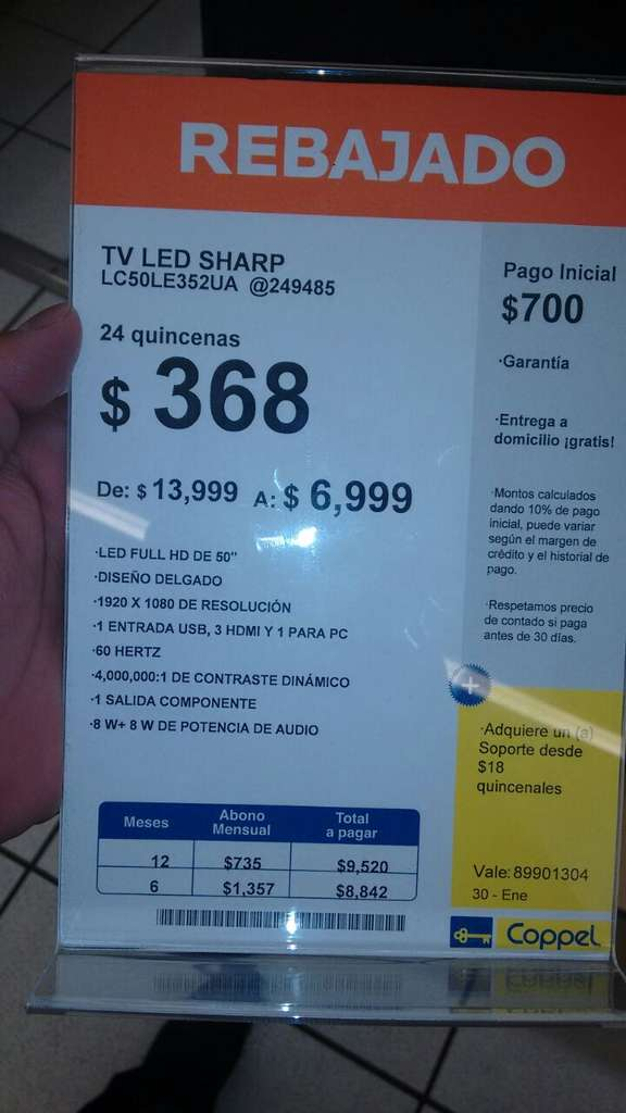 Coppel led smart tv sharp 50 de 13 999 a 6 999 for Costo de recamaras en coppel