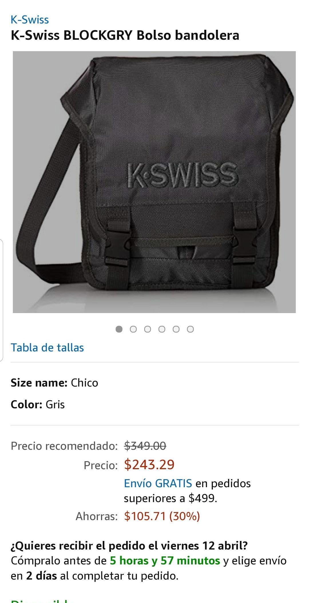 44c700305 Amazon: K-Swiss BLOCKGRY Bolso bandolera - promodescuentos.com