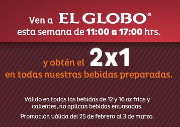 El globo 2x1 en bebidas de 11 a 5 for Localizador de sucursales