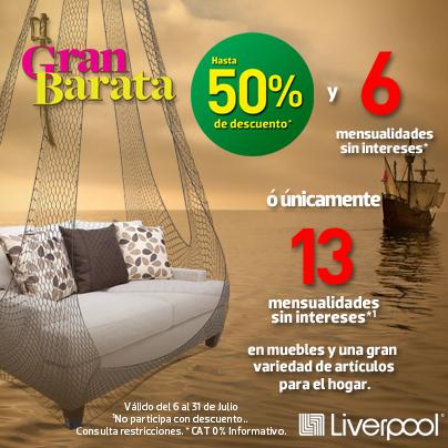 Liverpool hasta 50 de descuento y 6 msi en muebles y for Articulos para el hogar