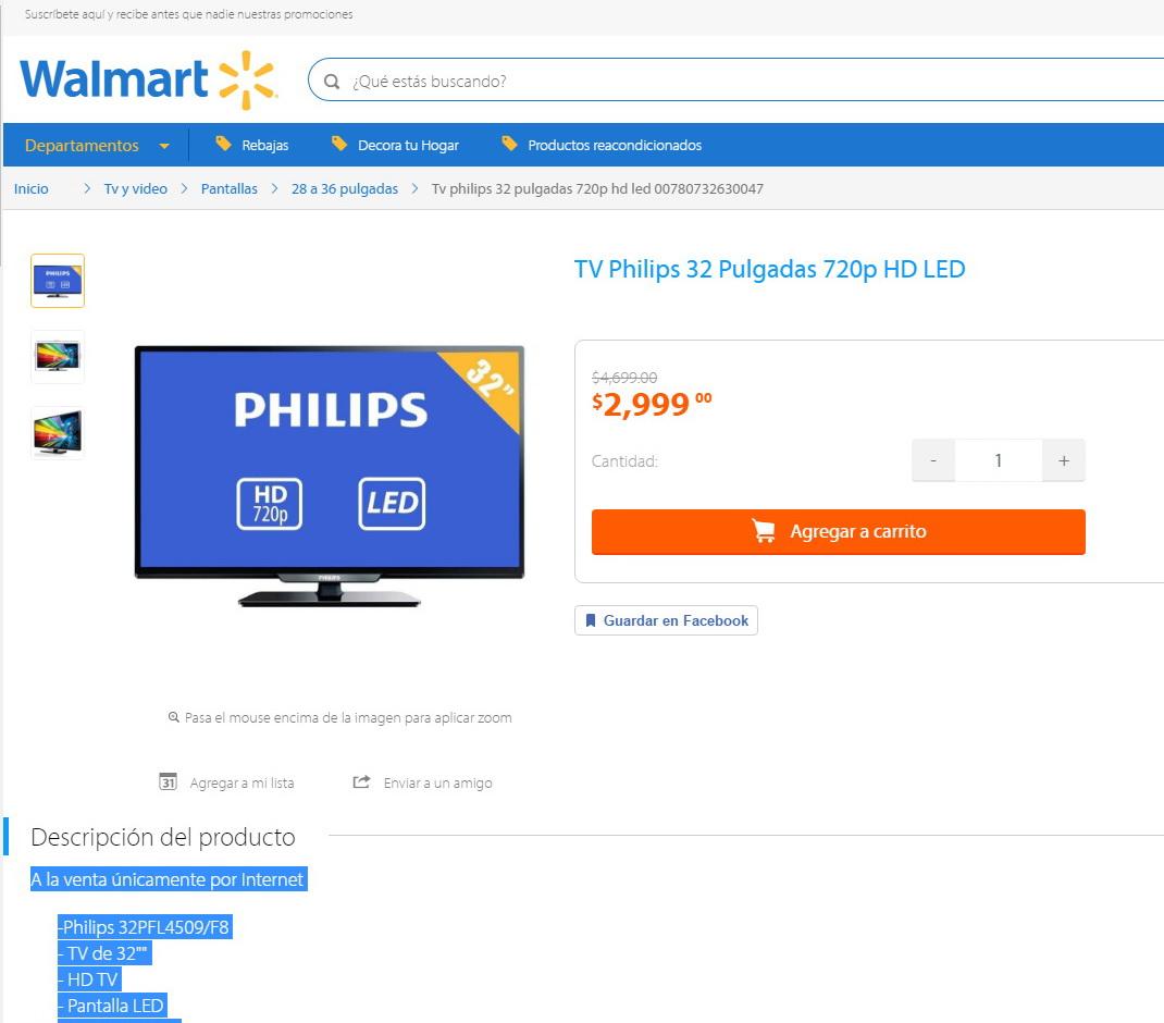 Walmart  Tv Philips 32 U0026quot  720p Hd Led 32pfl4509  F8
