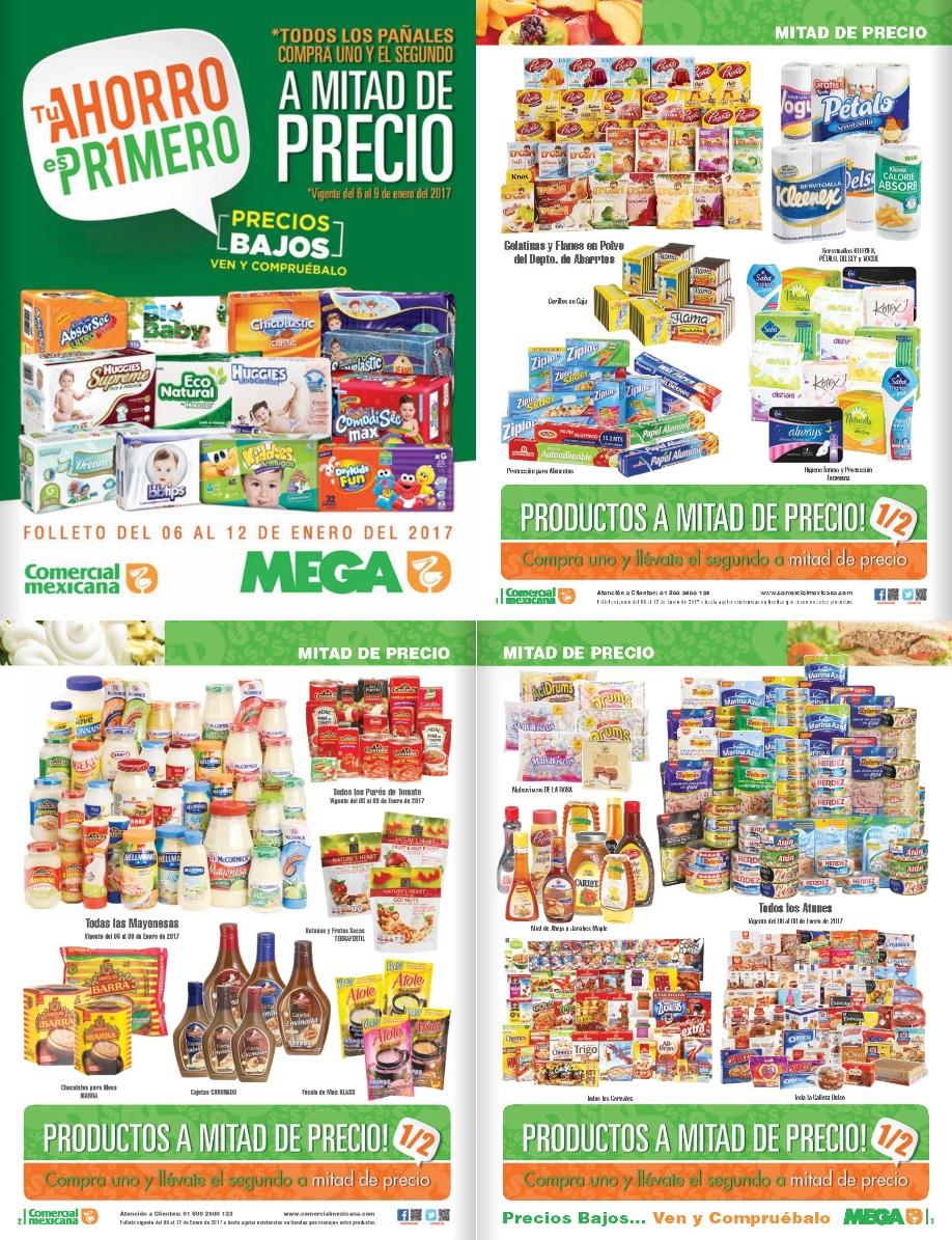 Comercial Mexicana y Mega: Folleto 2 x 1½ en varios