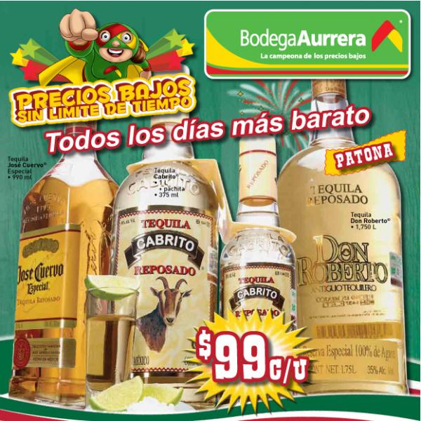 Circular Bodega Aurrerá: six de cerveza $34.90, tequila