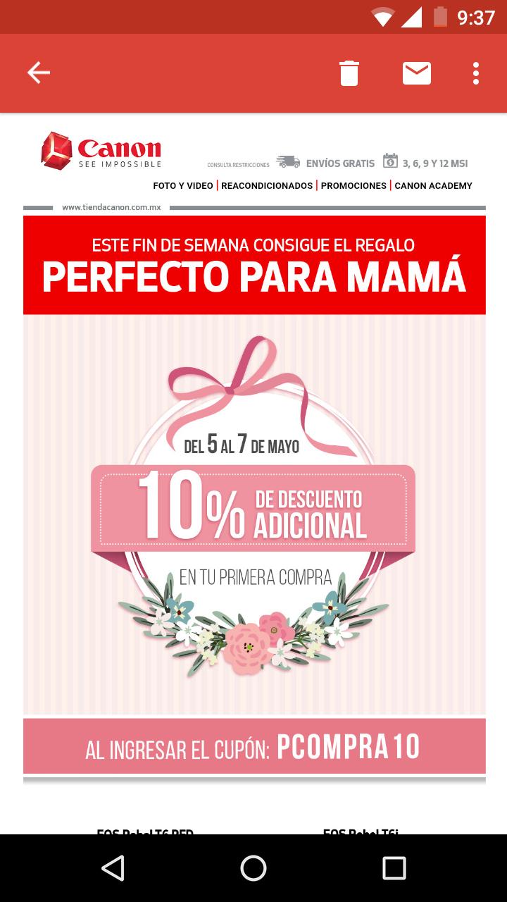 10% descuento en Canon México en línea (sólo aplica a primer compra)