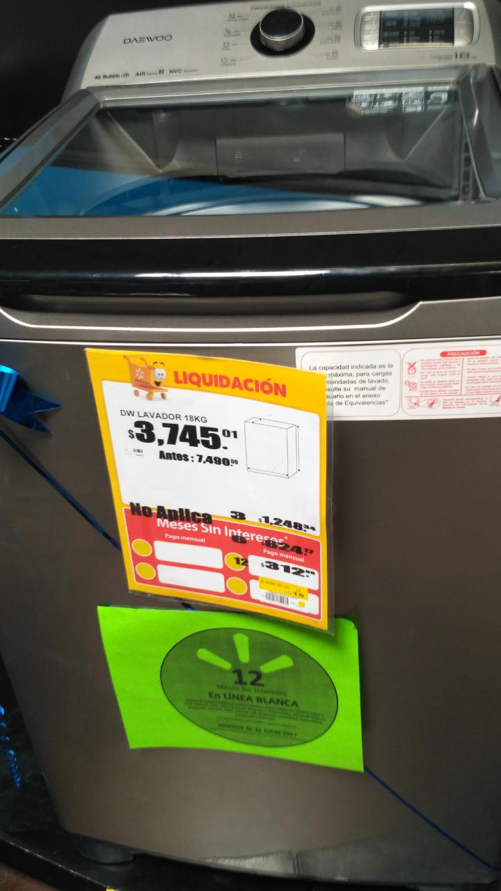 Walmart Cd del Carmen: lavadora Daewoo 18 kg